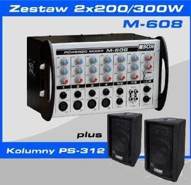 BOX ELECTRONICS M-608 + 2x PS-312 - zestaw nagłośnieniowy