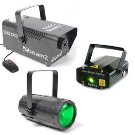Zestaw świateł dyskotekowych: Laser, Efekt LED Flower, Wytwornica dymu i płyn
