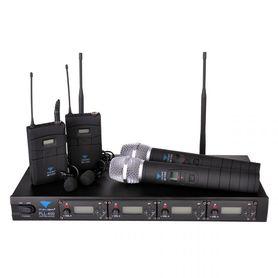 (MIK0116) Mikrofon PLL-400 UHF 4 kanały (2 do ręki+2 na klip)