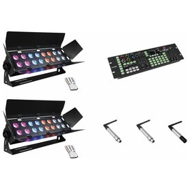 EUROLITE Set 2x Stage Panel 16 + Color Chief + QuickDMX transmitter + 2x receiver